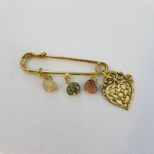 Safety Pin Style Heart Cloak Brooch